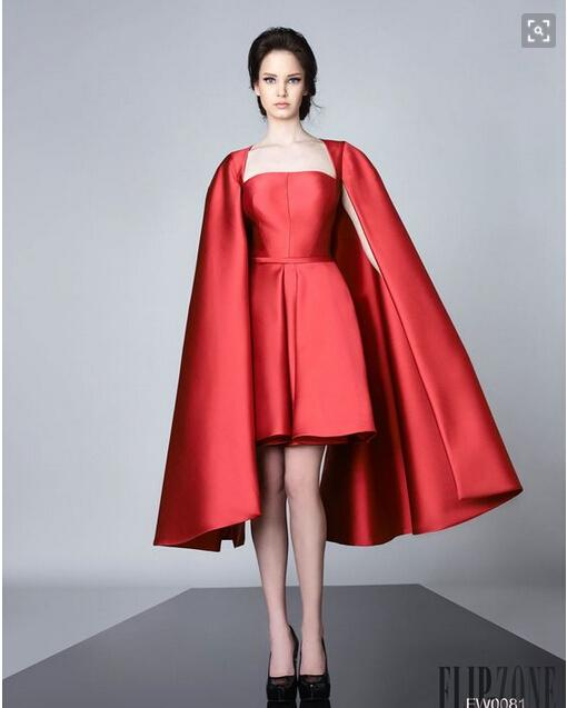 Red Satin SHort Evening Dresses With Wrap Spring 2016 Prom Gowns A line Custom made Vestidos Scoop FOrmal Party Gowns