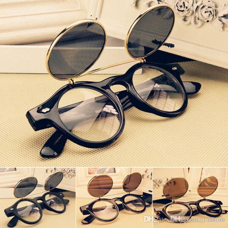 76bb9ed1eb Fashion Retro Vintage Punk Styles 1950s Men Women Sunglasses Sun Glasses  Flip Up Cyber Round Goggles Glasses GX14 Foster Grant Sunglasses Spitfire  ...