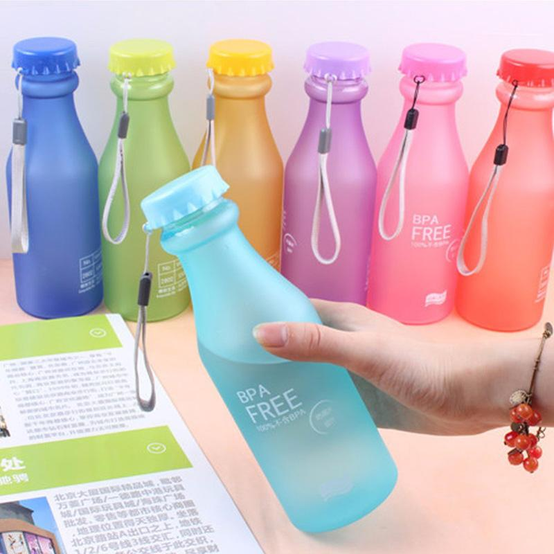 2pcs Water Bottle Sport Bike Portable Leak-proof 550ml Plastic Frosted  Creative Fashion Lemon Juice Running Camping Bottle BPA Free