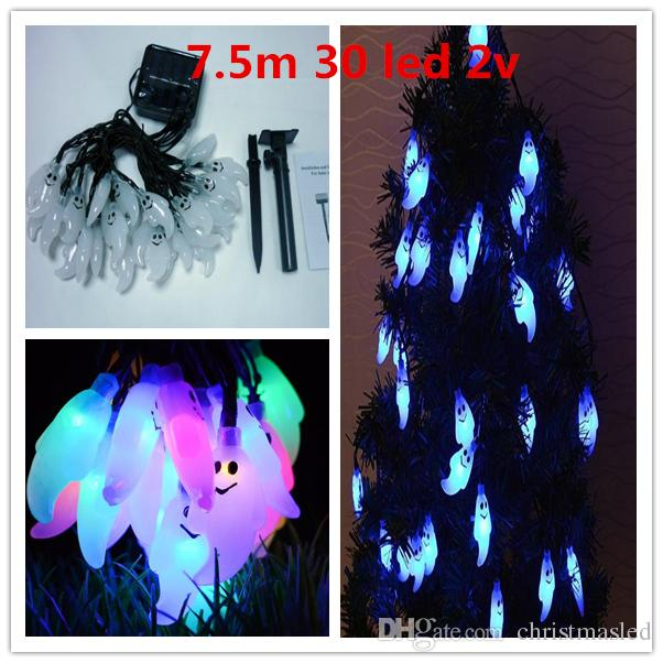 7.5m 30 LED tree ghost Solar String Light Waterproof Christmas Celebration Decoration Mixed Color 0.2 Power String Lights holiday