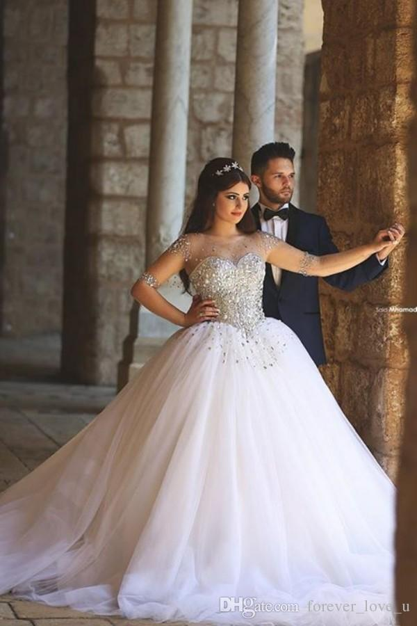 Abiti arabo Abiti da sposa Abiti da sposa Sheer Bateau Scollo Illusione Maniche lunghe Cristalli di lusso Gonna in tulle Abiti da sposa Vestido De Novia