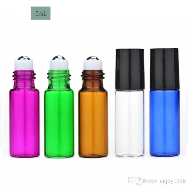 Venta caliente 2400 unids / lote colorido 5 ml rollo de vidrio vacío en botellas para perfume 5CC pequeño aceite esencial Roll-on botella es para elegir