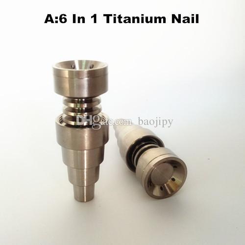 العالمي 6 في 1 التيتانيوم مسمار 10/14 / 18mm وأنثى وذكر Domeless الأظافر كارب كاب للأنابيب الزجاج أو سيليكون أنابيب