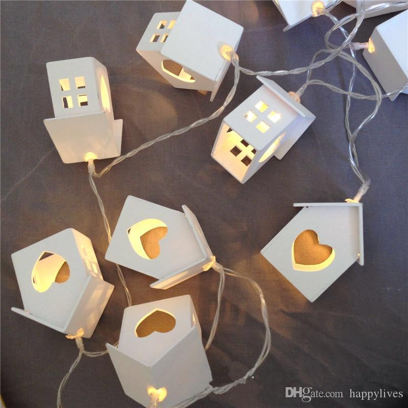 cheap holiday decoration white wooden house heart led 10 fairy string lights outdoor led christmas lights battery operated mini lights christmas string - White Christmas Lights Cheap