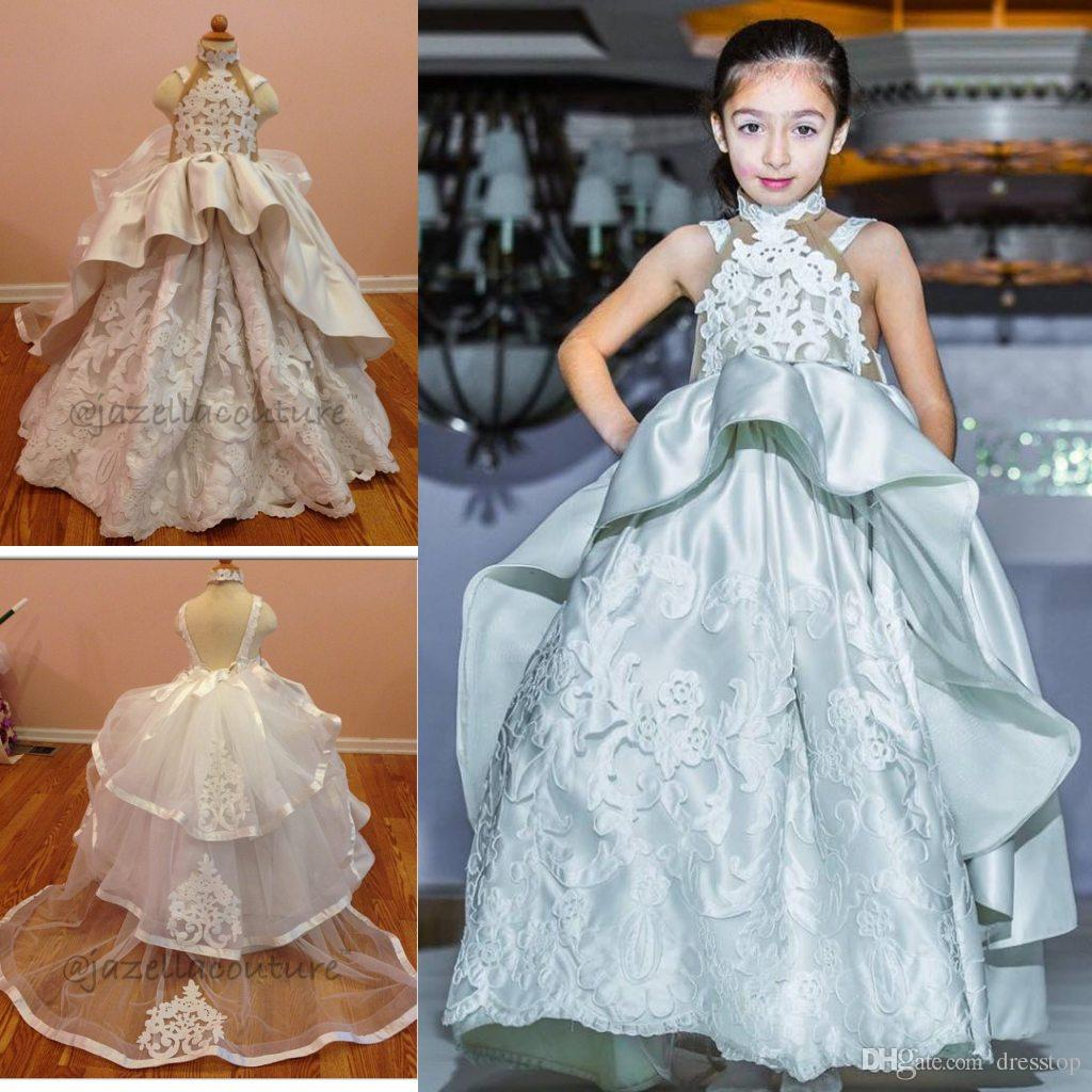 Fashion Peplum Kids Pageant Gowns Applique High Neck Wedding Girls ...