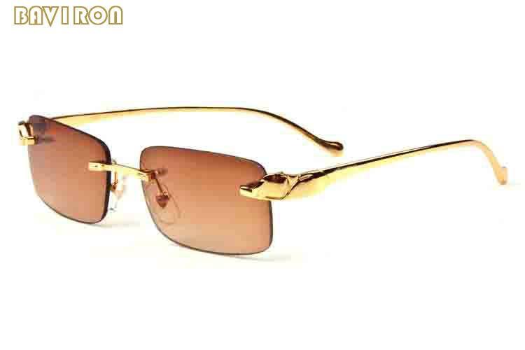 2020 Mode-Männer Sport-Sonnenbrille für Frauen Goldmetallrahmen Herren Buffalo Horn Brille Brillenetui Sonnenbrille große Rimless Glasses Lunettes