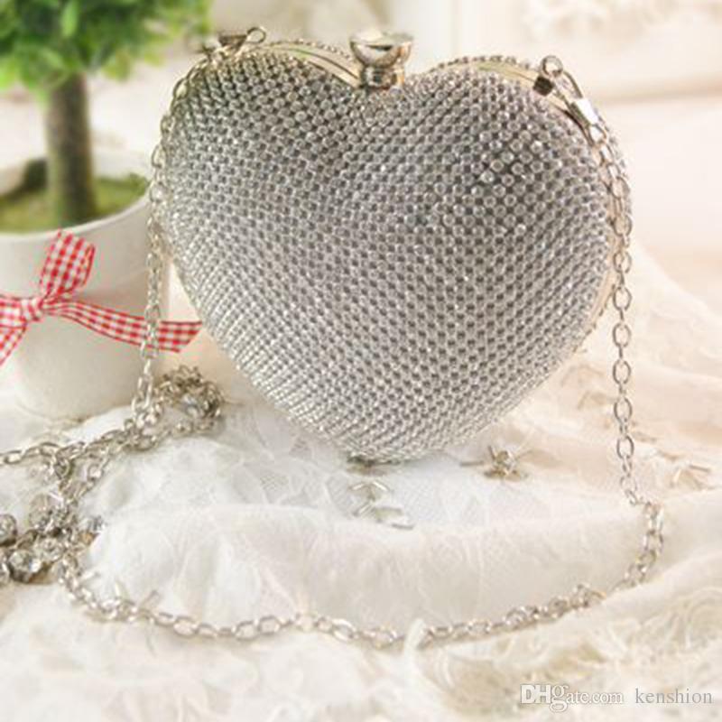 Прекрасный милый сумочка персиковое сердце вечерние сумки Алмаз Кристалл клатч кошелек свадебный банкет messenger партия вырез полые-R9749
