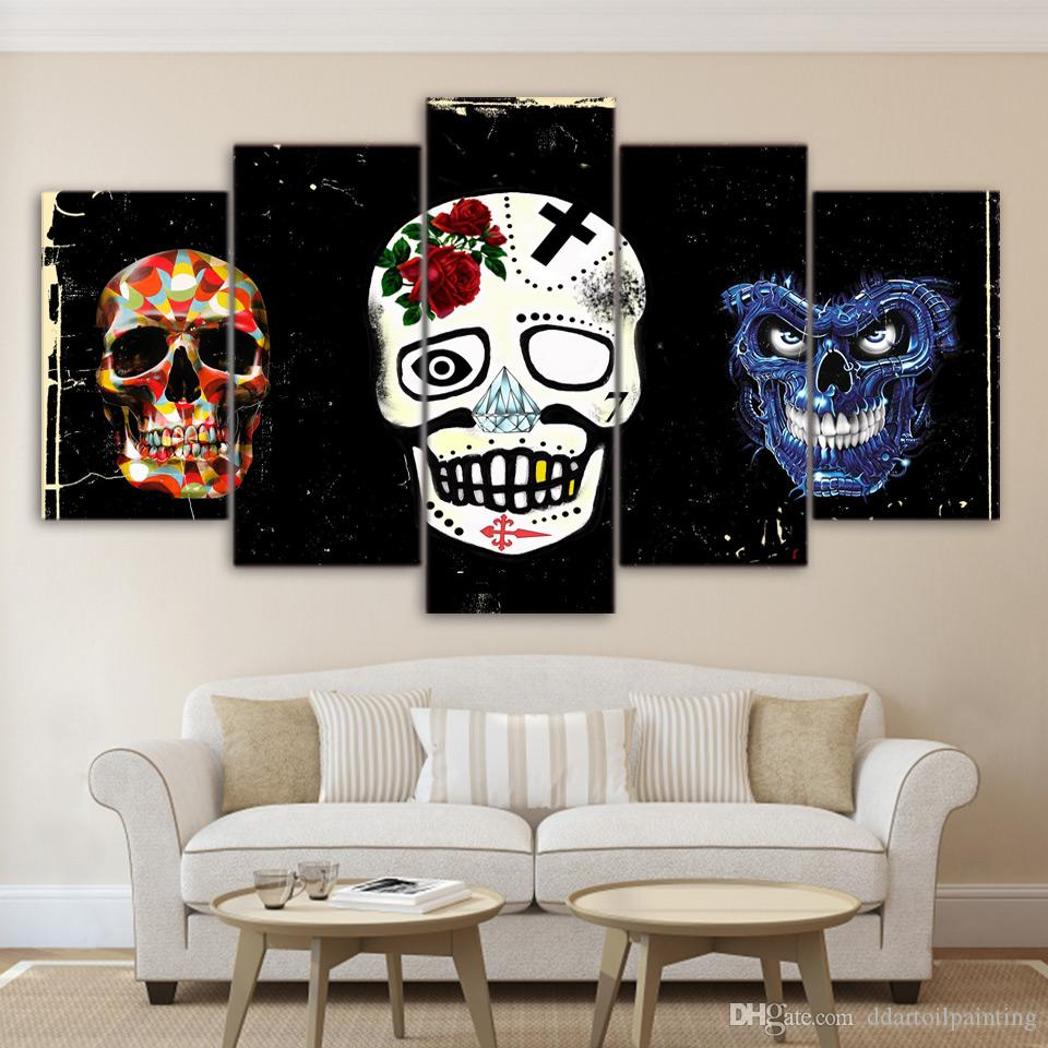 Skull Mask LARGE 60x32 Inches 5Panels Art Canvas Print Abstract Halloween Skull Mask Posters Wall Home Decor interior No Frame