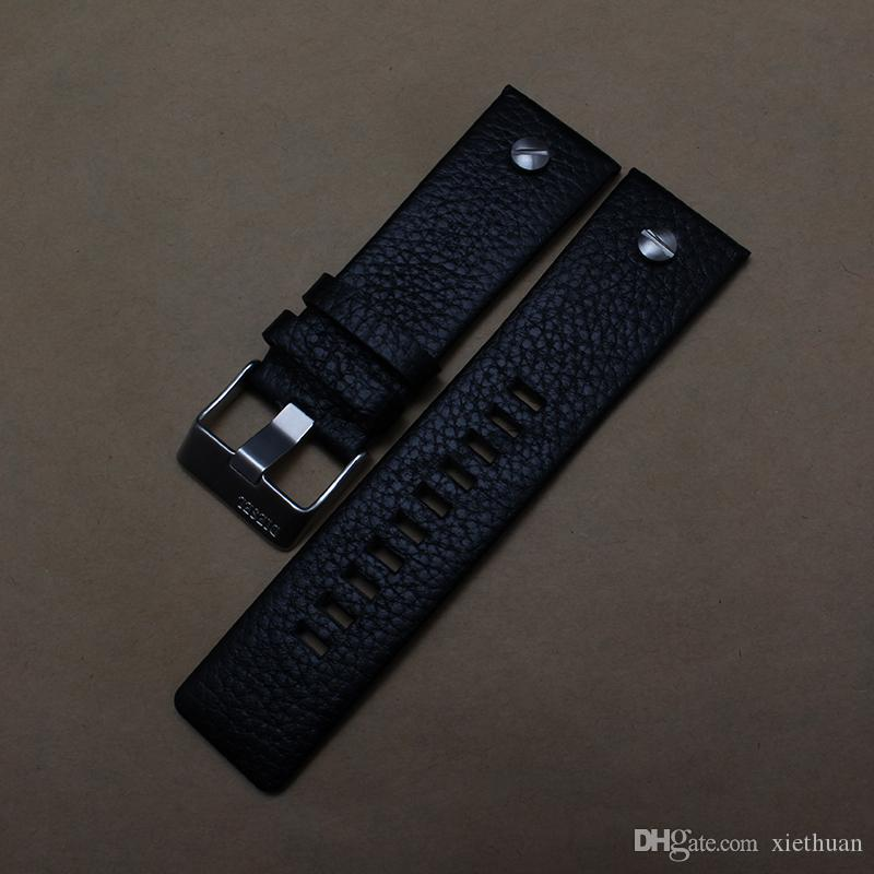Pin buckle metal silver soft Genuine Cowhide Leather Strap Watch Band Strap Watchband men 30mm 28mm 26mm 24mm 22mm for brand promotion