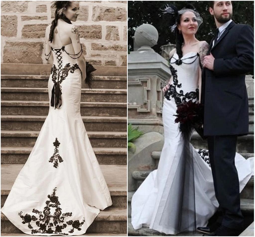 Großhandel Weiß Und Schwarz Gothic Wedding Dress Mermaid Sweetheart ...