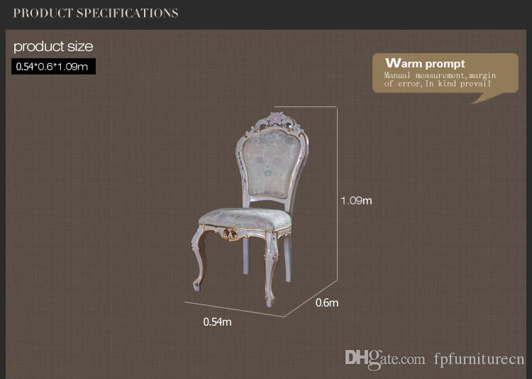 French classic solid wood dining chair -European high quality furniture with cracking paint and gold leaf gilding