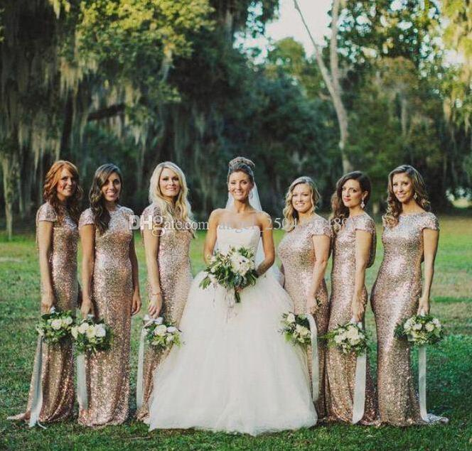 5f0696ece5f Sparkly Rose Gold Cheap 2015 Mermaid Bridesmaid Dresses 2016 Short Sleeve  Sequins Backless Long Beach Wedding Party Gowns Gold Champagne Wine  Bridesmaid ...