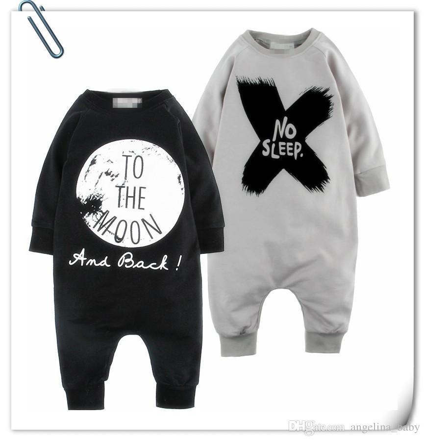 2015 nouveau bébé costume barboteuse coton lettre à manches longues NO SLEEP impression barboteuses garçons / filles costumes enfants bodys collants collants ensembles