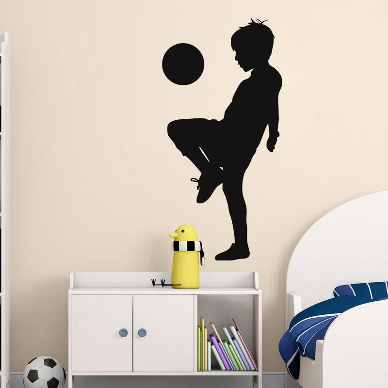 : Middle Sized 3D DIY Photo Soccer Football Player PVC Decals/Adhesive Family Wall Stickers Sport Mural Art Home Decor