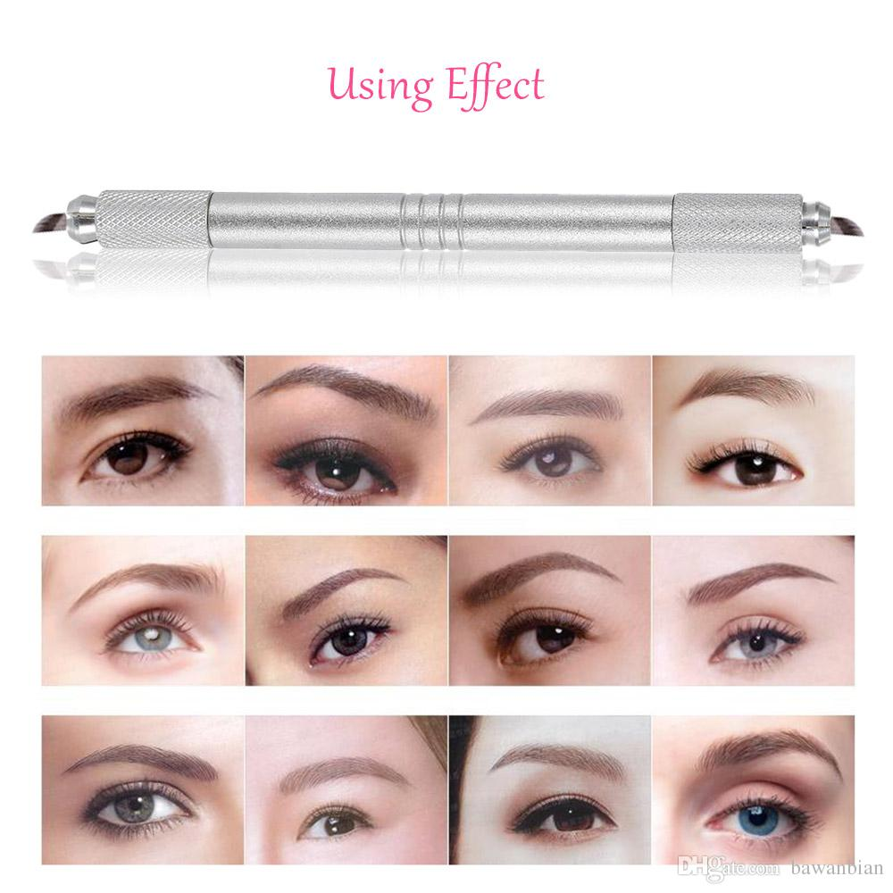 Eyebrow Tattoo Pen Manual Zinc Alloy Embroidered Eyebrow Tattooing Pen Dual Head Permanent For Skin Beauty Professional
