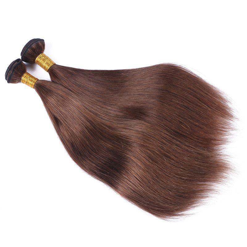 페루 인간의 진한 갈색 머리 뭉치 # 4 초콜릿 브라운 밍크 헤어 위빙 실키 스트레이트 페루 브라운 헤어 위사 확장
