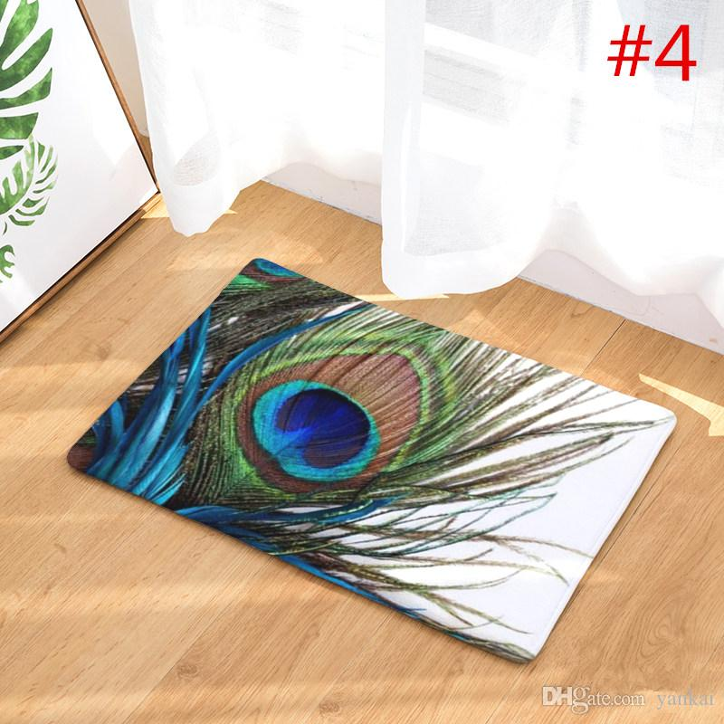 2017 New Home Decor Anti-Slip Carpets Peacock Feathers Pattern Mats Bathroom Livingroom Floor Kitchen Rugs 40X60 50X80cm