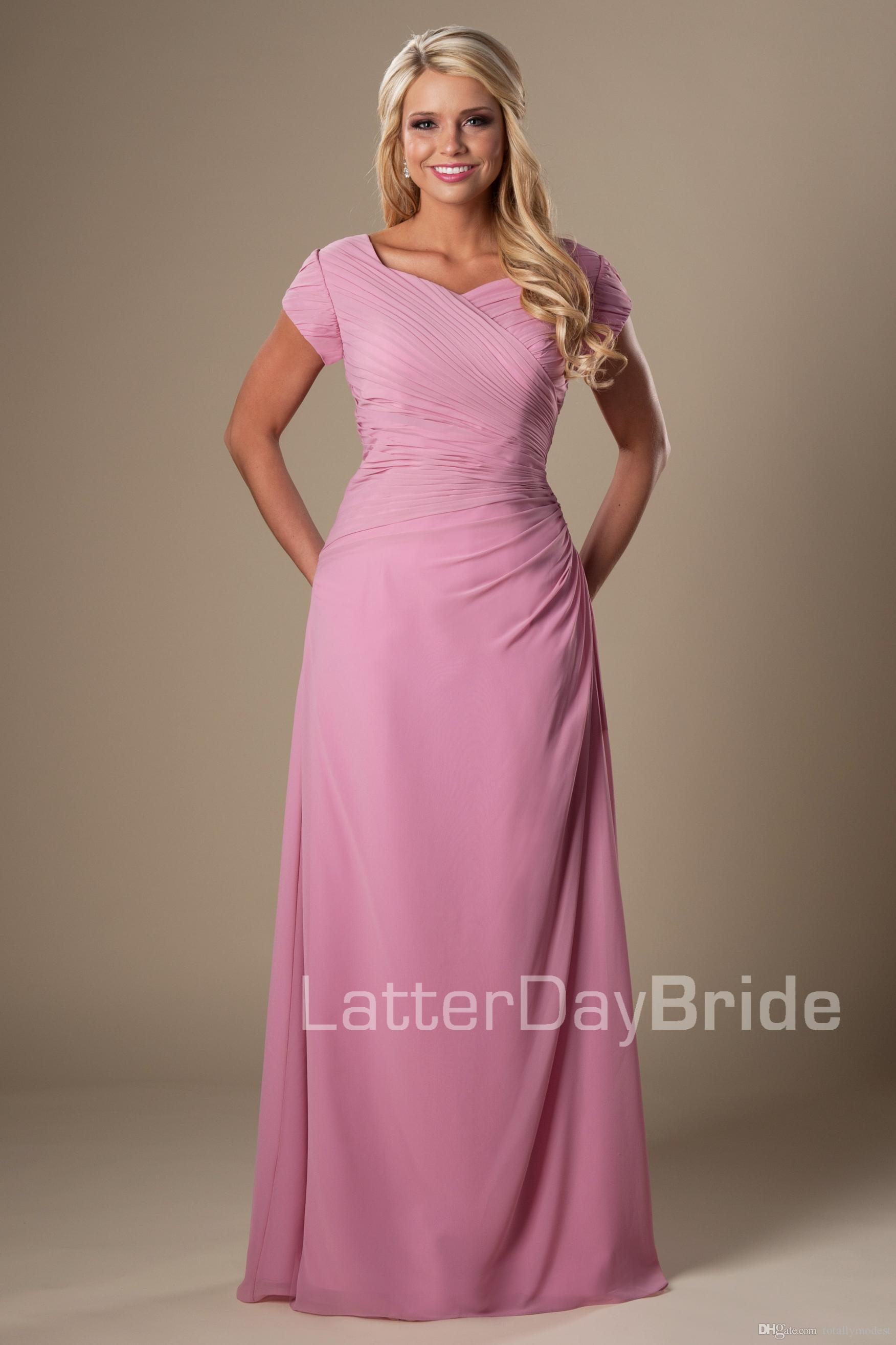 eac25e49261 Dusty Rose Chiffon Long Modest Bridesmaid Dresses With Short Sleeves ...
