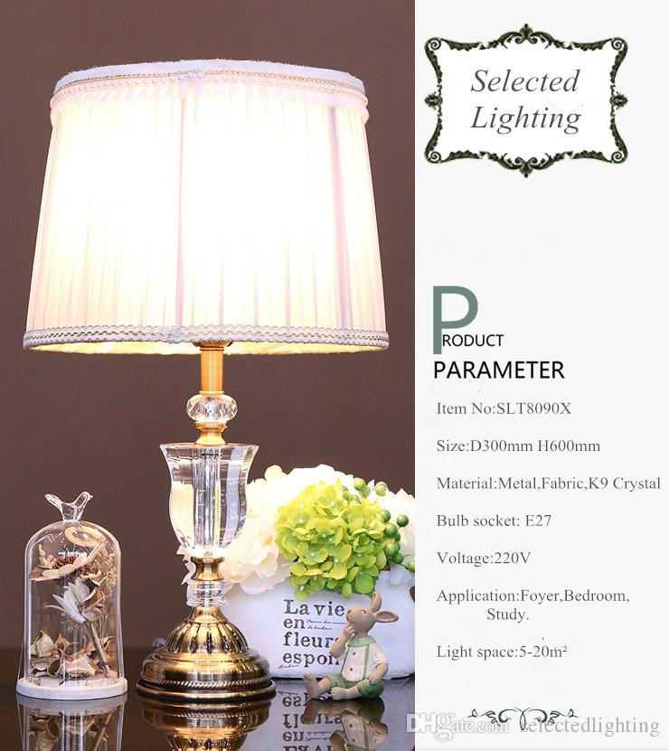 럭셔리 현대 K9 크리스탈 테이블 램프 호텔 조명 패브릭 갓 거실에 대 한 청동 테이블 조명