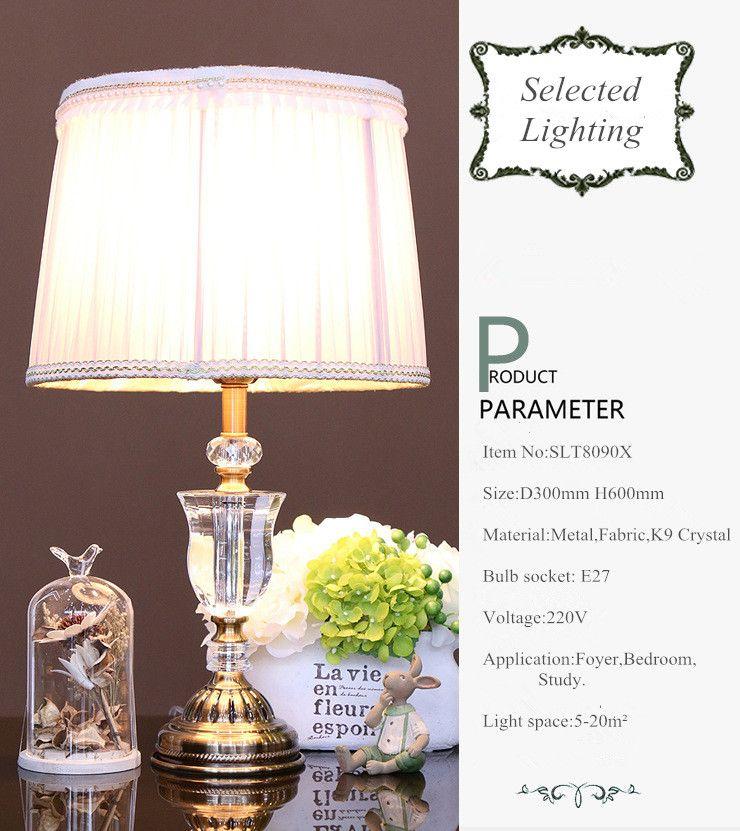 Lampade da tavolo moderne in cristallo K9 di lusso Illuminazione hotel Lampade da tavolo in bronzo paralume in tessuto soggiorno