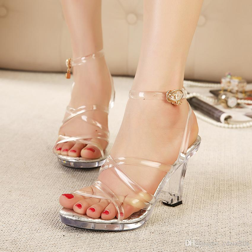 749b4b53e4ac Women Transparent High Heels Sandals Platform Summer Nightclub Female  Crystal Wedding Shoes Open Toe Sandal Large Size 34 43 Party Buckle Prom  Shoes Silver ...