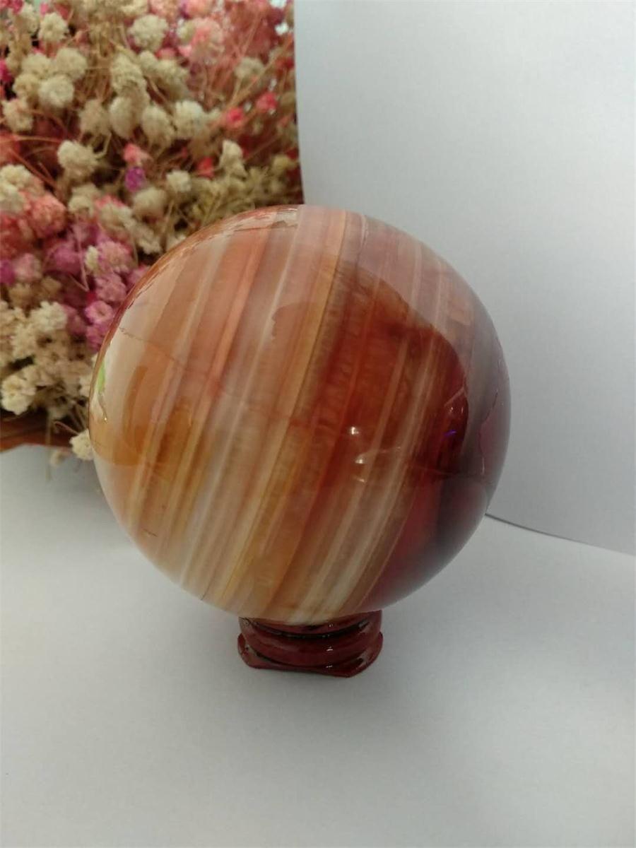 Großartig! Rote Karneol-Geode-Kristallquarz-Achat polierte Exemplar-Bereich-Kugel-Heilung Natursteine und Mineralien Freies Verschiffen