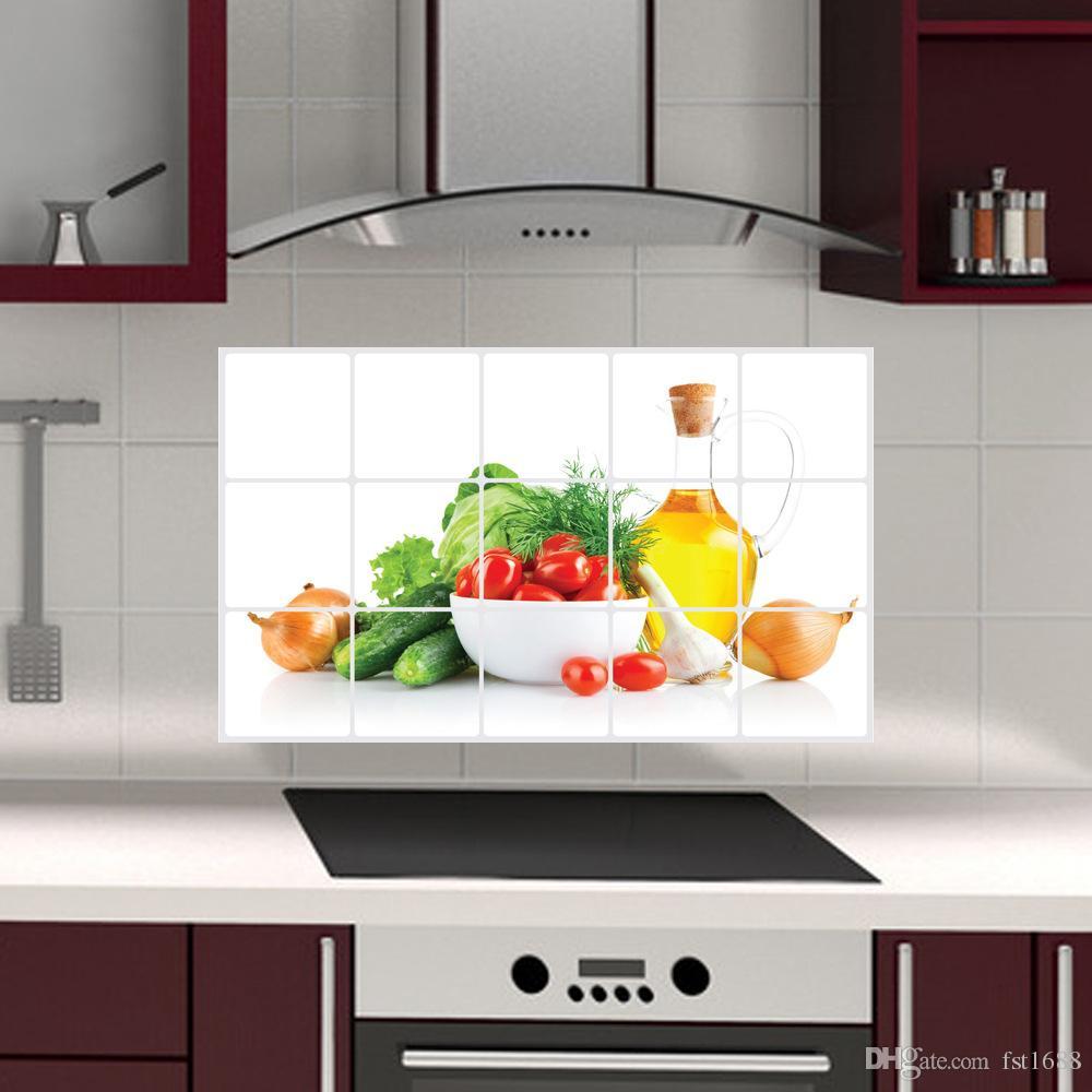 Acquista AY3018 Vegetable Anti Olio Adesivi Cucina PVC Stampato ...