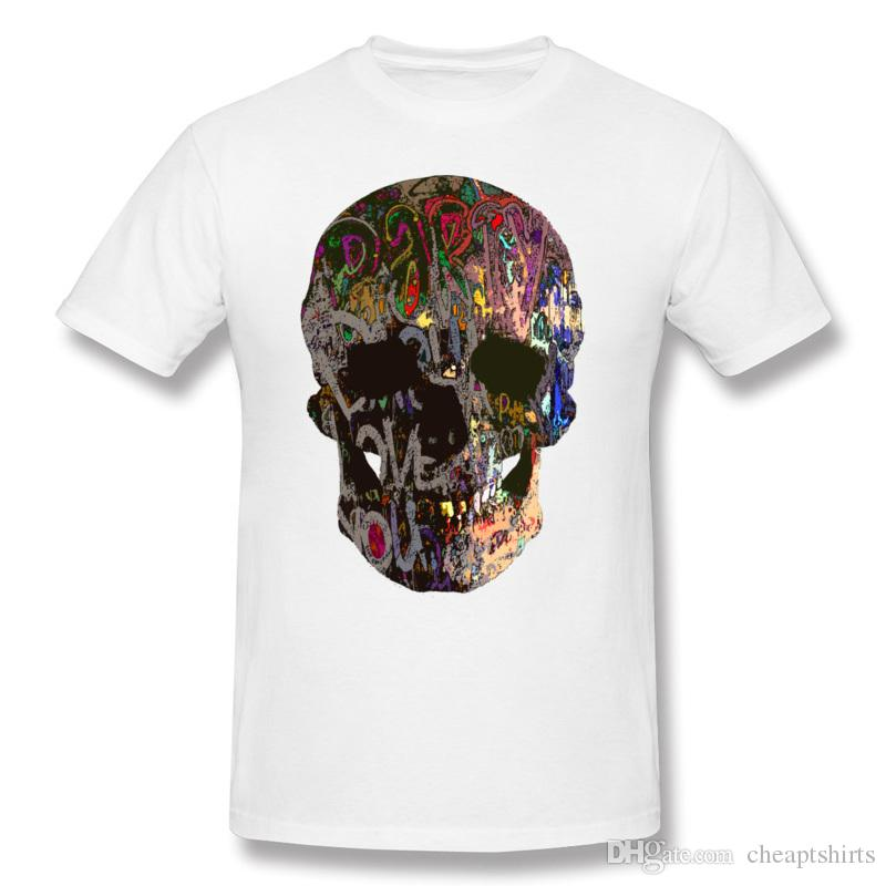 Vintage Men beige T-Shirt colorful exotic Mr Skull printed unique tshirts male summer fall short-sleeve tops healthy fabric for man