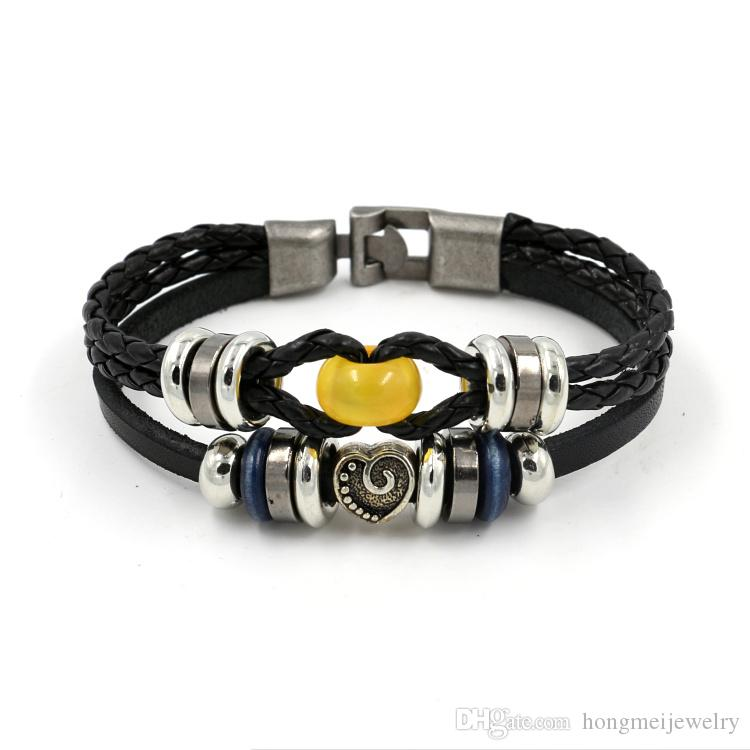 New Europe natural yellow beads Retro charm bracelet wholesale heart-shaped leather bracelets for couple models gift