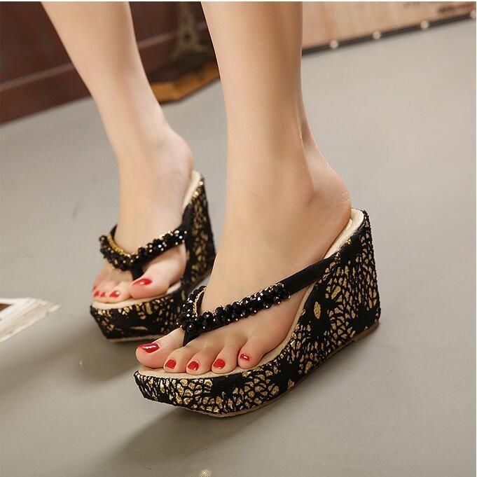 Women Summer High Heel Bohemia Sandals Flip Flops