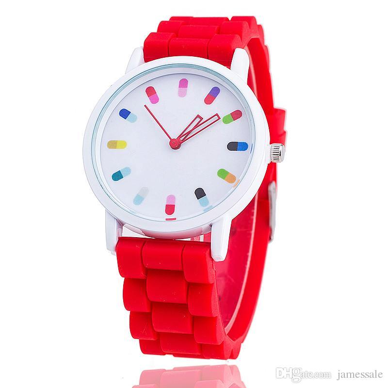 vigilanza all'ingrosso del vestito di stile del fronte del fiore donne dell'orologio della vigilanza di modo delle donne della vigilanza della vigilanza di colore rosa delle donne