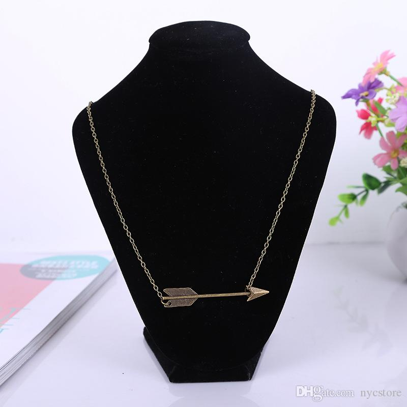 2016 cheap hot sale Minimalist necklaces Jewelry fashion Bridesmaid Gifts Dainty Vintage Fortune Arrow Chain Necklaces pendants for women