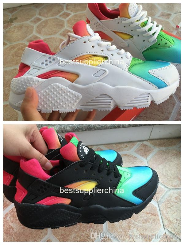 4c64636fb91d4 2016 Air Huarache Running Shoes Huaraches Black White Rainbow Ultra Breathe  Shoes Men And Women Huaraches Multicolor Sneakers Size 36 46 Canada 2019  From ...