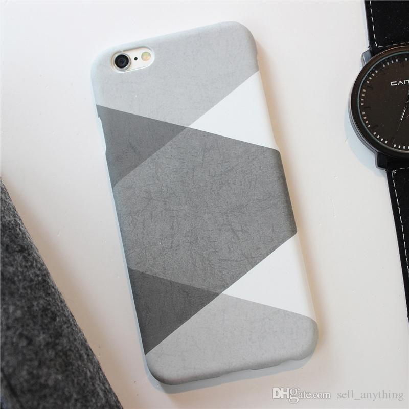 brand new 5bf10 90ad8 Geometric Patchwork Cell Phone Cases Grey Simple Design Phone Covers for  iphone 6s 6Plus 5s 78