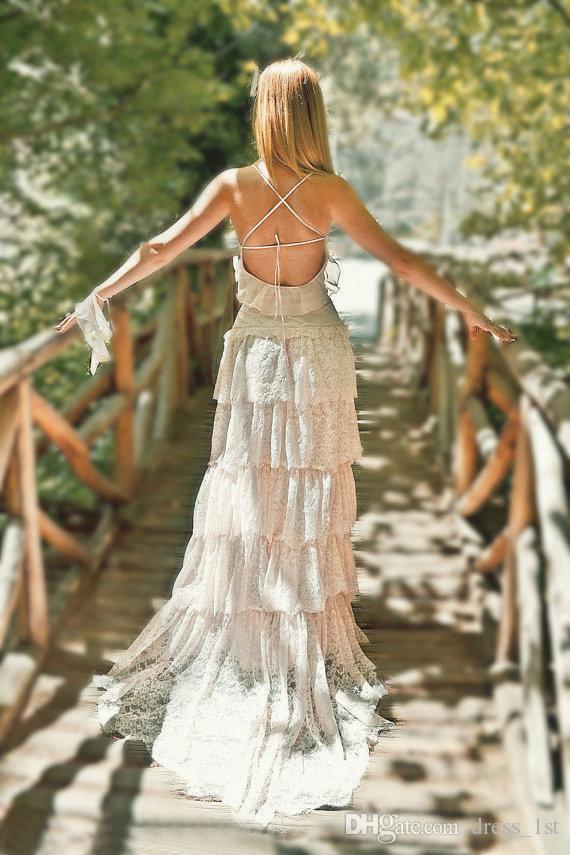 Vintage 2016 Blush Dentelle Boho Robes De Mariée Pas Cher Sexy Spaghetti Dos Nu Criss Croix À Longues Robes De Mariée Sur Mesure EN4155
