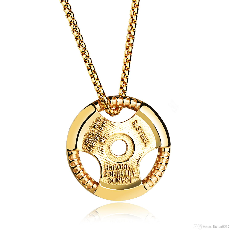 Acheter Casual Disc Design Homme Pendentif Colliers Mode En Acier  Inoxydable Sport Hommes Bijoux Cadeau Puissant Accessoires GX1051 De  10.06  Du Lishan0517 ... 14f38dacf8be