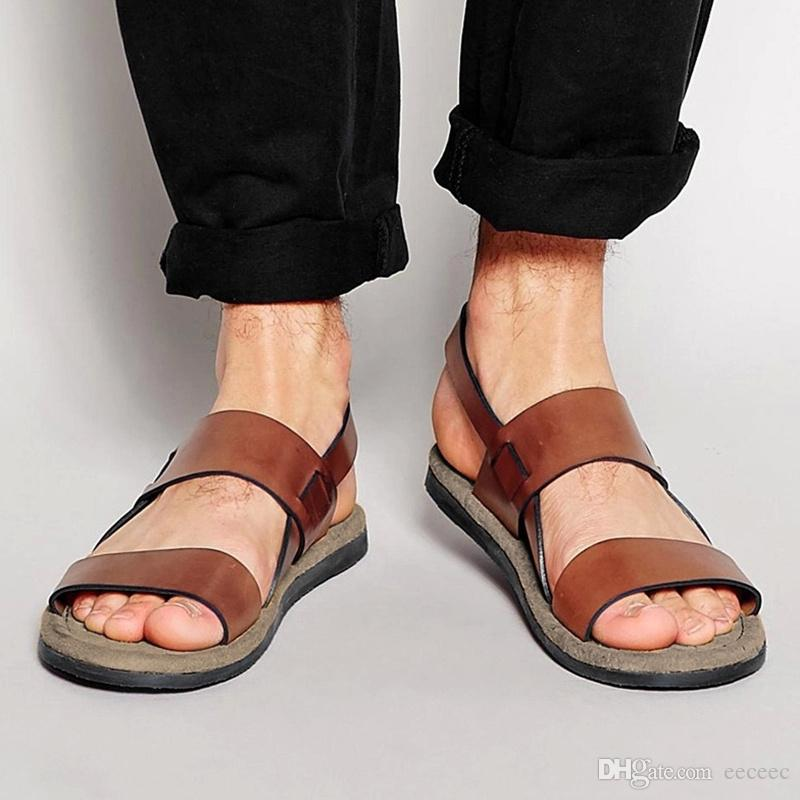 8d73c07306c5 US6-10 Trendy Buckle Strap REAL Leather Casual Summer Beach Sandals Mens  Outdoor Slides Top- Thongs Shoes MENS Sandals Online with  73.05 Piece on  Eeceec s ...