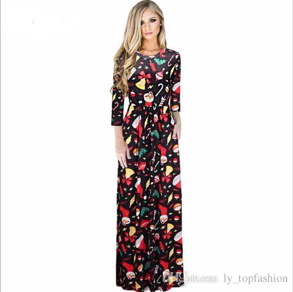 21a67c2fe5a 2017 Sexy Women Floral Print 3 4 Sleeve Boho Ladies Long Maxi Dress Pocket  Ice Silk Tunic Party Christmas Dresses Xmas Vestidos Affordable Evening  Dresses ...