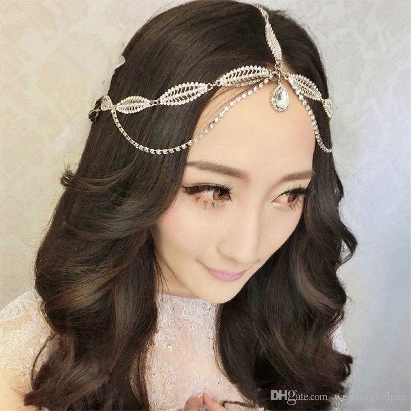 Indian Wedding Headband Forehead Hair Chain Jewelry Vintage Crystal Rhinestone Accessories Princess Crown Tiara Queen Headdress Silver How To Make