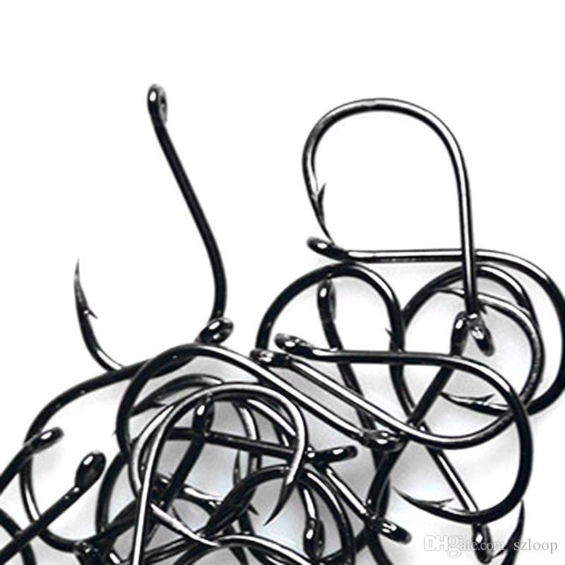 Größe # 3-12 Kohlenstoffstahl Kreis Besitzer Angelhaken Set Süßwasser Angelhaken Sets Starke Angelgerät 500 Teile / schachtel 2508003