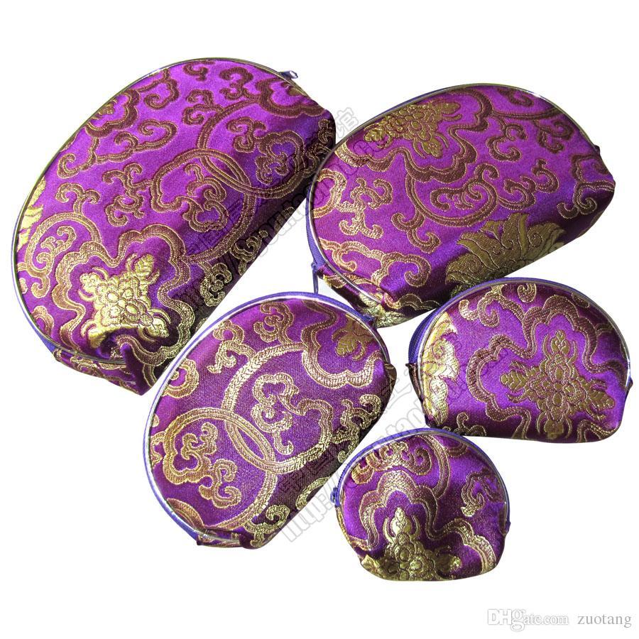 السفر المحمولة سستة 5 حجم حقيبة المجوهرات مجموعة الحرير الديباج ماكياج التجميل مفتاح تخزين الحقيبة الهاتف الخليوي محفظة عملة محفظة 1 مجموعة = 5 قطع