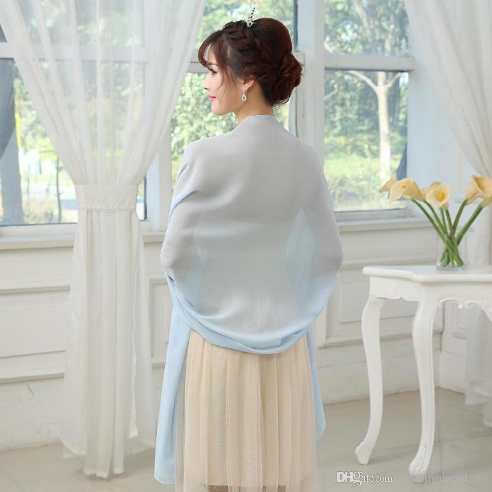 Macio Barato Chiffon Nupcial Xale Noite Jaquetas Cachecol 2018 Branco Nupcial Wraps Mais Novo Casamento Longo Capes Bolero Para O Vestido De Noiva