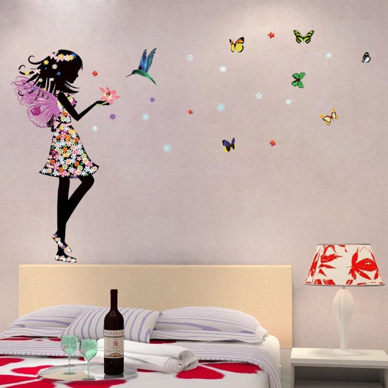 Romantic Cartoon Angel Wings Flower Fairy Beautiful Girl Butterfly Diy Wall  Stickers Mural Decal Kids Room Home Decor Wall Decals Cheap Wall Decals  Deals ...