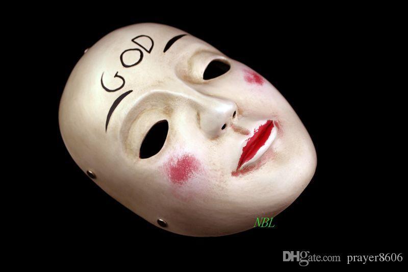 A Purge Film Masquerade DEUS Máscara de Resina Adulto Tamanho do Dia Das Bruxas Cosply Traje Máscaras Faciais Completas Frete Grátis