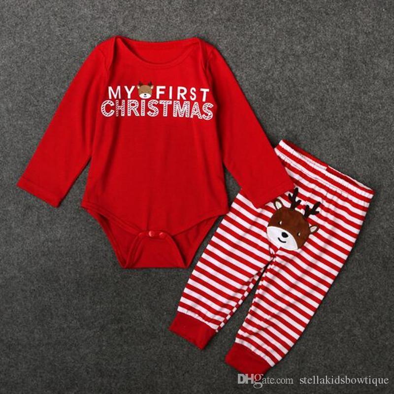 quality design ffdb7 d2b69 Meine erste Weihnachten Infant Baby Mädchen Kleidung Niedlichen Tier  Striped Gedruckt Baby Coming Home Outfit Weihnachten Neugeborenen Body  gesetzt