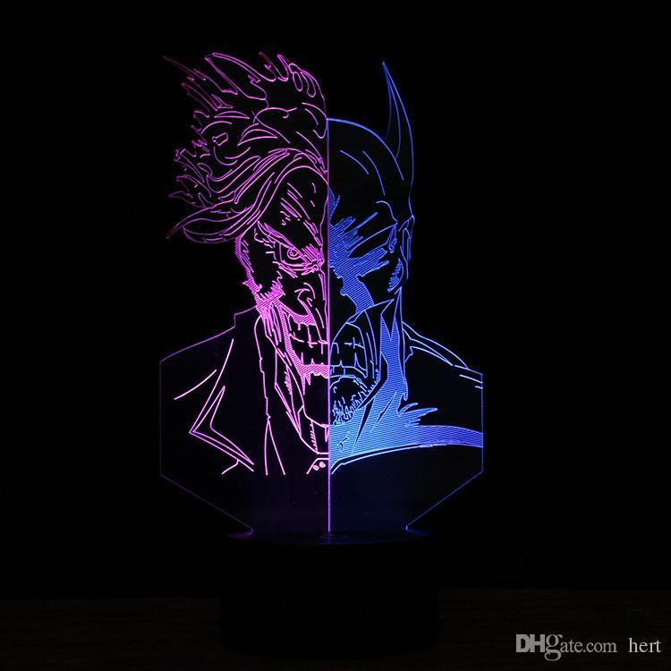 3D figure action Superhero Two-Faced Clown Batman Change USB Night Light LED Table Desk Lamp Child Halloween Xmas Gift