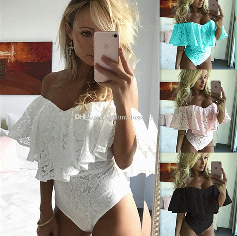 2019 Womens Ladies Lace Ruffles Jumpsuits Rompers Sexy Off Shoulder Stretch  Party Leotard Tops Club Night Bodysuit Overalls Bodysuit Playsuit From ... f5b671c3ac53