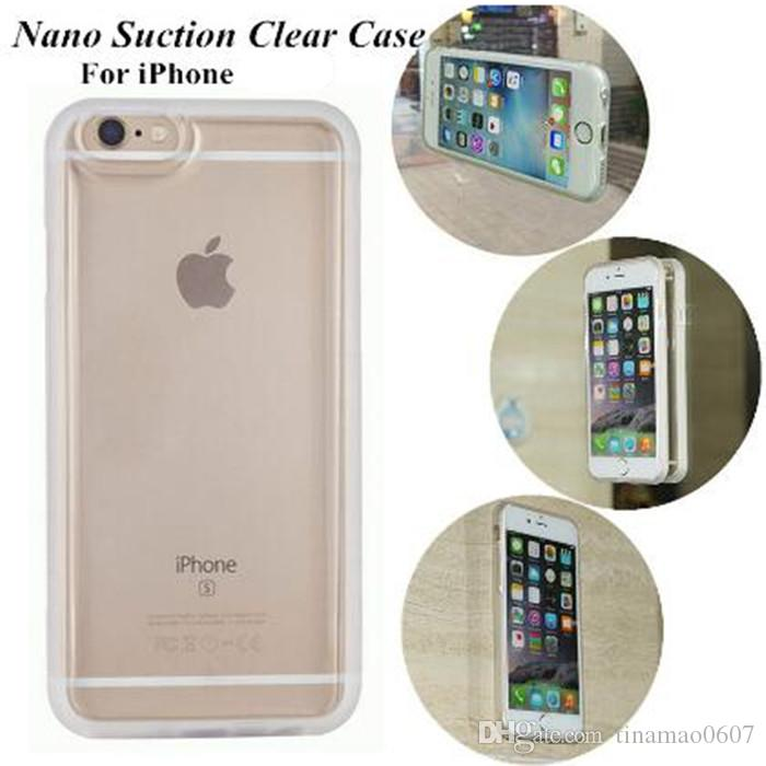 sports shoes 0fc69 d97ab Transparent Clear Anti Gravity Case Nano Suction Cover Magic Adsorption  Soft TPU Shockproof Case Silicon For Iphone 7 6 6S Plus 5 5S