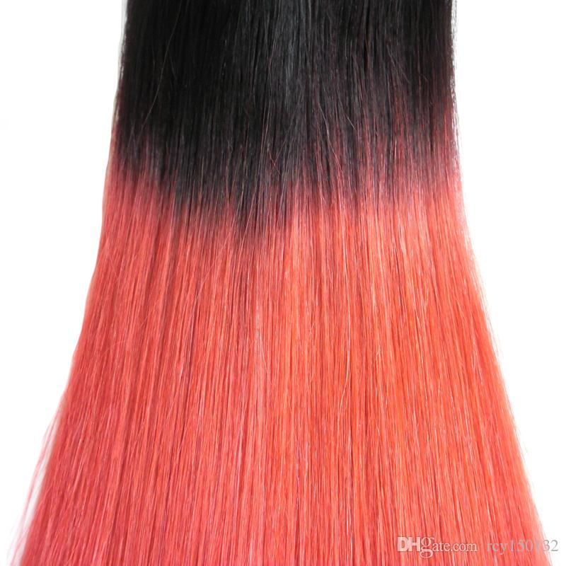 Ombre Tape in Human Hair Extensions straight T1B/RED two tone ombre human hair 100g skin weft tape hair extensions