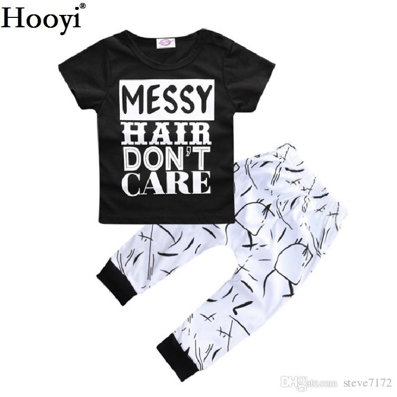 Hooyi Neonate bianche nere Vestiti Set T-shirt per ragazzo a maniche corte Pantalone 100% cotone 70 80 90 100 Toddler Suit Suit Messy Hair Do not Care